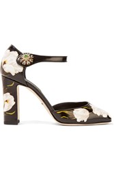 Dolce And Gabbana Embellished Printed Leather Mary Jane Pumps Black