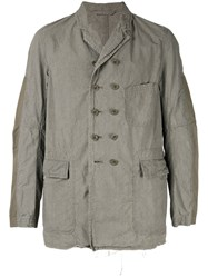 The Viridi Anne Double Breasted Military Jacket Grey