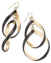 Thalia Sodi Gold Tone Faux Leather Double Twist Drop Earrings Only At Macy's