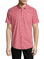Report Collection Shark Print Cotton Button Down Shirt Coral