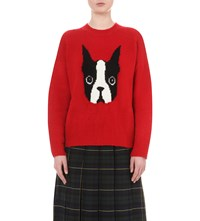Chocoolate French Bulldog Knitted Jumper Red