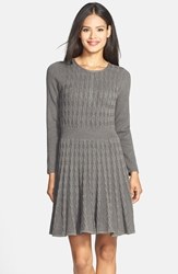Eliza J Cable Knit Sweater Dress Grey