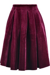 Maje Pleated Velvet Skirt Burgundy