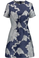 Michael Van Der Ham Tabitha Metallic Jacquard Dress Blue