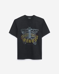 The Kooples Printed Washed Black Cotton T Shirt