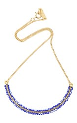 Isabel Marant Gold Tone Beaded Necklace Navy