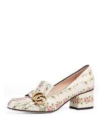 Gucci Marmont Rose Print Leather Pump Multi Pattern