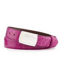 W.Kleinberg Glazed Alligator Belt With Plaque Buckle Magenta Made To Order Pink