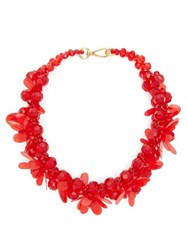 Simone Rocha Floral Beaded Necklace Red