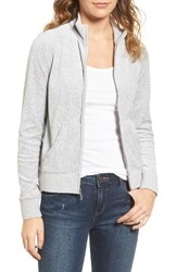 Juicy Couture Women's Fairfax Velour Track Jacket Silver Lining
