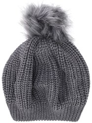 Le Chapeau Ribbed Pompom Hat Grey