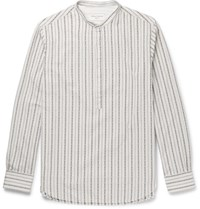 Officine Generale Auguste Grandad Collar Cotton Jacquard Shirt Ivory