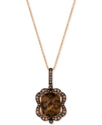 Le Vian Chocolatier Caramel Quartz 3 5 8 Ct. T.W. And Diamond 3 8 Ct. T.W. Pendant Necklace In 14K Rose Gold Brown