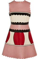 Red Valentino Redvalentino Color Block Leather Mini Dress Baby Pink