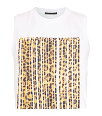 Alexander Wang Leopard Barcode Crop Top Female White