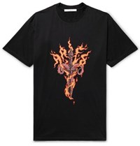 Givenchy Oversized Printed Cotton Jersey T Shirt Black