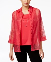 Alfred Dunner Petite Embellished Burnout Layer Look Blouse Carnation