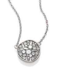 Plev Ice Diamond And 18K White Gold Pebble Pendant Necklace
