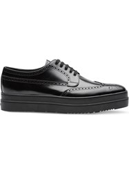 Prada Leather Platform Derby Shoes Black