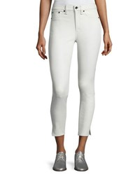 Rag And Bone Leather 10 Inch Capri With Slits White