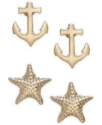Charter Club Gold Tone Duo Set Of Anchor And Starfish Stud Earrings Only At Macy's