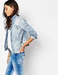 Replay Boyfriend Denim Jacket With Destroyed Detail Blue