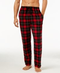 Perry Ellis Men's Plaid Fleece Pajama Pants Black Red Large Plaid Fleece Pant