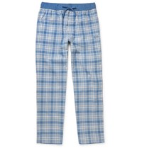 Hugo Boss Checked Brushed Cotton Twill Pyjama Trousers Blue