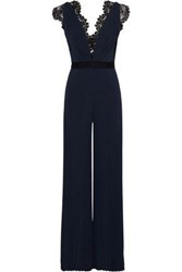 Catherine Deane Woman Hessa Lace Trimmed Pleated Stretch Jersey Jumpsuit Navy
