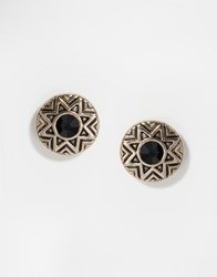 Oasis Aztec Round Stud Earrings Gold