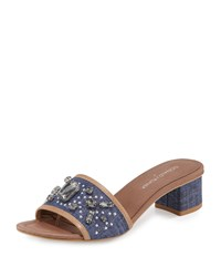Donald J Pliner Maxx Jeweled Low Heel Slide Sandal Denim Silver Women's