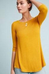 Pure Good Madelyn Ribbed Swing Top Gold