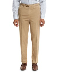 Brioni Washed Flat Front Trousers Khaki
