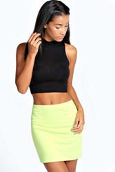 Boohoo Mini Bodycon Jersey Skirt Lime
