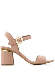 Emporio Armani Logo Buckled Sandals Neutrals