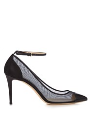 Jimmy Choo Tower 85Mm Leather And Mesh Pumps Black
