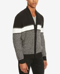 Kenneth Cole Reaction Men's Marled Shawl Collar Cardigan Black