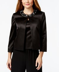 Tahari Asl Satin Embellished Jacket And Shell Top Black