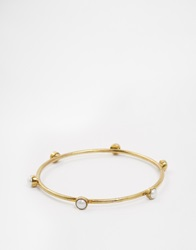 Mirabelle Brass Medieval Bangle With Pearls Brasswhitepearl