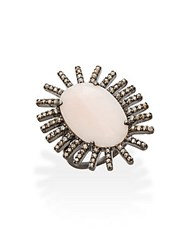 Bavna Pink Opal Champagne Diamond And Sterling Silver Ring