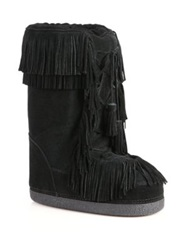 Aquazzura Boho Karlie Fringed Suede Shearling Lined Moon Boots Black