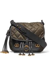 Prada Messenger Leather And Quilted Shell Shoulder Bag Army Green