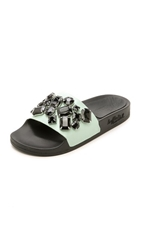 Loeffler Randall Cat Jeweled Slides Mint Black