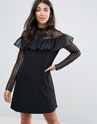 Amy Lynn Occasion Long Sleeve Shift Dress With Mesh Polka Dot Sleeves And Frill Detail Black
