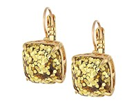 Kate Spade Small Square Leverback Earrings Gold Glitter