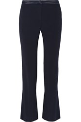 Sandro Paige Satin Trimmed Crepe Straight Leg Pants Blue