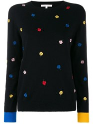 Chinti And Parker Floral Embroidered Sweater Black
