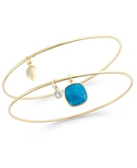 Studio Silver Aventurine 3 1 2 Ct. T.W. And Cubic Zirconia Bangle Bracelets In 18K Gold Over Sterling Silver
