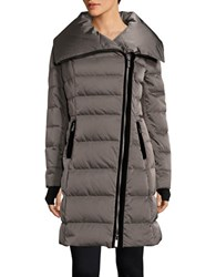 Vera Wang Asymmetrical Zip Puffer Down Coat Mink