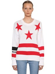 Msgm Star And Logo Intarsia Cotton Knit Sweater White